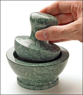 green mortar & pestle